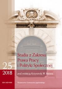 Studia z Zakresu Prawa Pracy i Polityki Społecznej, 2018/2, Zeszyt 1