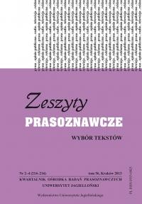 Zeszyty Prasoznawcze, 2013/9, Tom 56, Numer 2 (214)
