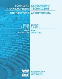 Czasopismo Techniczne, 2014/11, Architektura Zeszyt 9-A (22) 2014