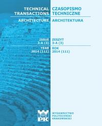 Czasopismo Techniczne, 2014/2, Architektura Zeszyt 3 A (3) 2014