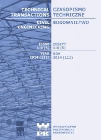 Czasopismo Techniczne, 2014/3, Budownictwo Zeszyt 1-B (5) 2014