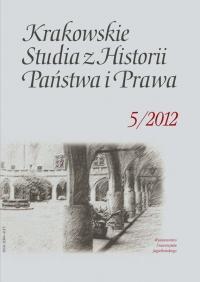 Krakowskie Studia z Historii  Państwa i Prawa, 2012/12, Tom 5, Zeszyt 2