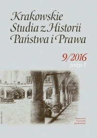 Krakowskie Studia z Historii  Państwa i Prawa, 2016/4, Zeszyt 1