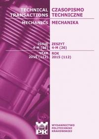 Czasopismo Techniczne, 2015/12, Mechanika Zeszyt 4-M (26) 2015