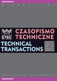Czasopismo Techniczne, 2012/3, Mechanika Zeszyt 6-M (11) 2012