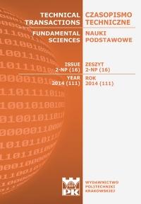 Czasopismo Techniczne, 2014/8, Nauki Podstawowe Zeszyt 2 NP (16) 2014