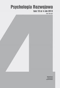 Psychologia Rozwojowa, 2013/12, Tom 18, Numer 4
