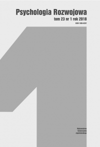 Psychologia Rozwojowa, 2018/3, Tom 23, Numer 1