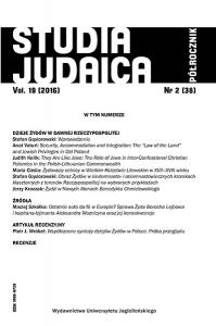 Studia Judaica, 2016/8, Nr 2 (38)