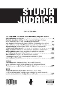 Studia Judaica, 2016/3, Nr 1 (37)
