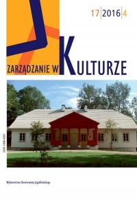 Zarządzanie w Kulturze, 2016/12, Tom 17, Numer 4