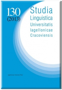 Studia Linguistica  Universitatis Iagellonicae Cracoviensis, 2017/11, Volume 134, Issue 4
