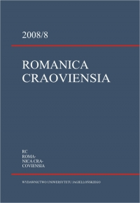 Romanica Cracoviensia, 2008/1, Tom 8, Numer 1