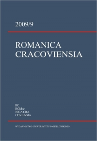 Romanica Cracoviensia, 2009/1, Tom 9, Numer 1