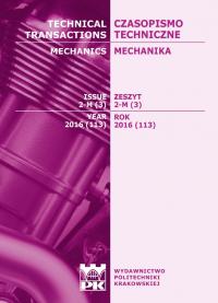 Czasopismo Techniczne, 2016/3, Mechanika Zeszyt 2-M (3) 2016