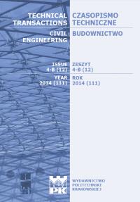 Czasopismo Techniczne, 2014/6, Budownictwo Zeszyt 4-B (12) 2014