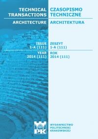 Czasopismo Techniczne, 2014/1, Architektura Zeszyt 1 A (1) 2014