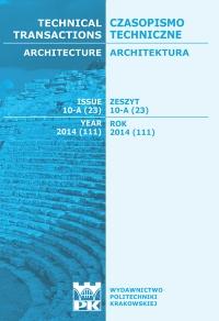 Czasopismo Techniczne, 2014/12, Architektura Zeszyt 10 A (23) 2014