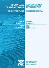Czasopismo Techniczne, 2014/1, Architektura Zeszyt 2 A (2) 2014