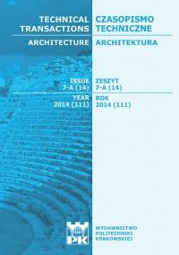 Czasopismo Techniczne, 2014/7, Architektura Zeszyt 7 A (14) 2014