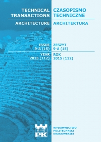 Czasopismo Techniczne, 2015/8, Architektura Zeszyt 9-A (15) 2015