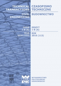Czasopismo Techniczne, 2016/1, Budownictwo Zeszyt 1-B (6) 2016