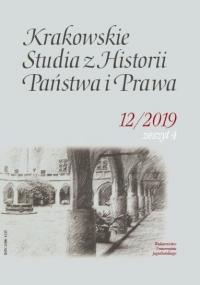 Krakowskie Studia z Historii  Państwa i Prawa, 2019/12, Zeszyt 4