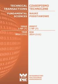 Czasopismo Techniczne, 2014/4, Nauki Podstawowe Zeszyt 1 NP (7) 2014