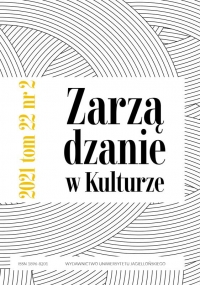 Zarządzanie w Kulturze, 2021/5, Tom 22, Numer 2