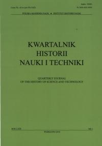 Kwartalnik Historii Nauki i Techniki, 2018/10, Issue 3