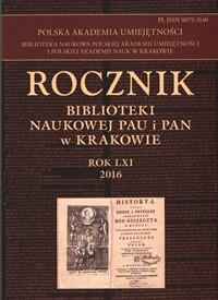 Rocznik Biblioteki Naukowej PAU i PAN, 2016/1, 2016