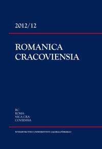 Romanica Cracoviensia, 2012/12, Tom 12, Numer 1